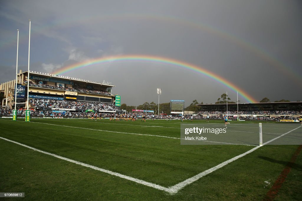 A general view is seen of a rainbow during the round 14 NRL match between the Cronulla Sharks and the Wests Tigers at Southern Cross Group Stadium on June 10, 2018 in Sydney, Australia.