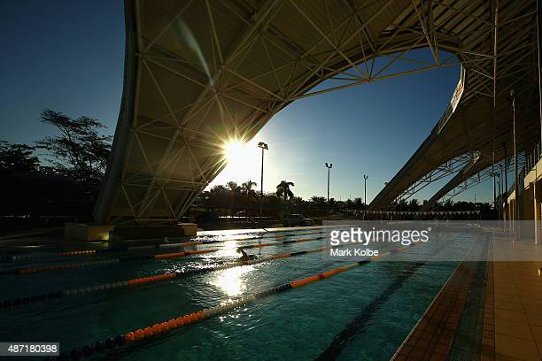 A general view is seen of a swimmer in the training pool at the aquatic centre during the swimming competition at the Tuanaimato Sports Facility on...