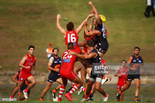 A general view is seen of action during the AFL Inter Club match between the Sydney Swans and the Greater Western Sydney Giants at Henson Park on...