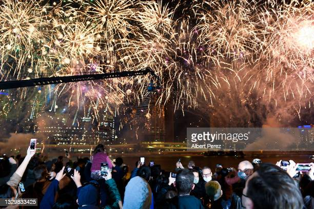 General view is seen of fireworks after Brisbane was announced as the host city of the 2032 Olympics during the announcement of the host city for the...