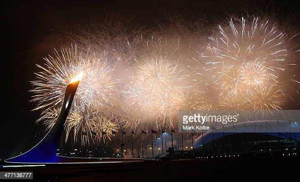 A general view is seen of fireworks over Fisht Olympic Stadium during the Opening Ceremony of the Sochi 2014 Paralympic Winter Games at Fisht Olympic...