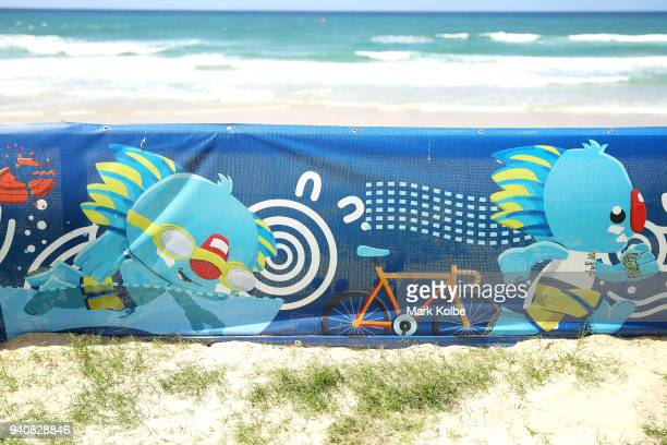 A general view is seen of games signage at the beachside ahead of the 2018 Commonwealth Games on April 2 2018 in Gold Coast Australia