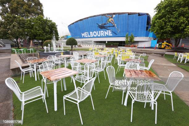 A general view is seen of Garden Square and Rod Laver Arena ahead of the 2019 Australian Open at Melbourne Park on January 05 2019 in Melbourne...