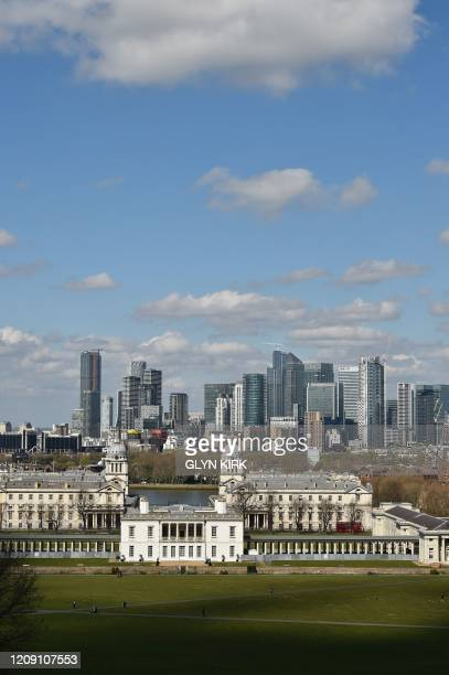 A general view is seen of he London skyline from Greenwich in London on April 4 as life continues in the city during the novel coronavirus COVID19...