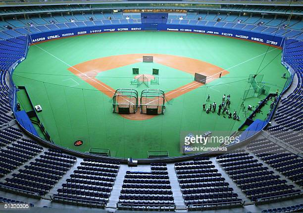 General view is seen of Nagoya Dome, where a Central League game between The Chunichi Dragons and the Yomiuri Giants scheduled for Saturday and...