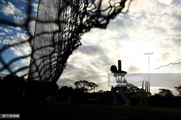A general view is seen of nets practice during an Australian women's Ashes series training session at North Sydney Oval on November 7 2017 in Sydney...