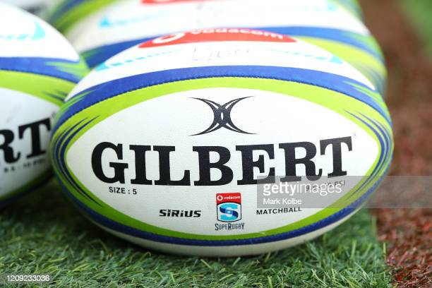 General view is seen of rugby balls before during the Lions warm-up before the round five Super Rugby match between the Waratahs and the Lions at...