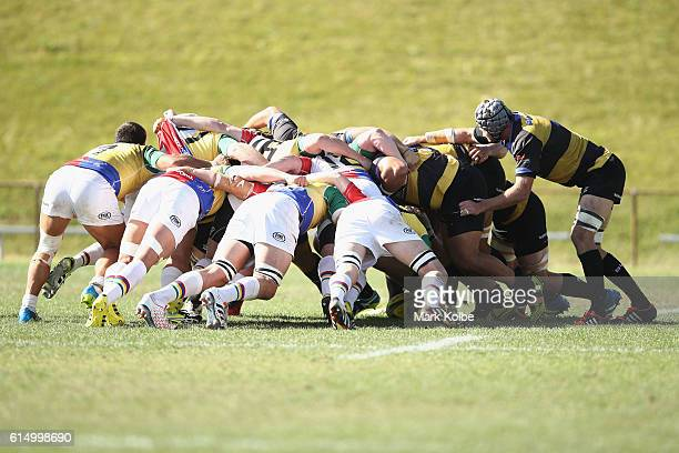 A general view is seen of scrum during the NRC Semi Final match between the Sydney Rays and Perth Spirit at Pittwater Park on October 16 2016 in...