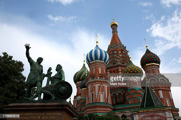 General view is seen of St Basil's Cathedral in Red Square ahead of the IAAF World Championships on August 6, 2013 in Moscow, Russia.