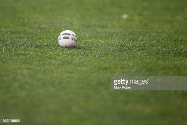 General view is seen of the ball after a boundary was hit during the Twenty20 International match between Australia and England at Blundstone Arena...