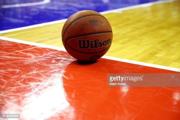 General view is seen of the ball during the round 17 NBL match between the Illawarra Hawks and the New Zealand Breakers at Wollongong Entertainment...