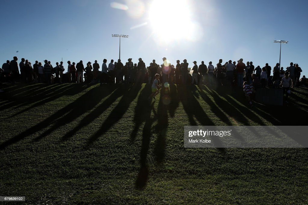 A general view is seen of the crowd as they wait for the start of the 2017 City versus Country Origin match at Glen Willow Sports Ground on May 7, 2017 in Mudgee, Australia.
