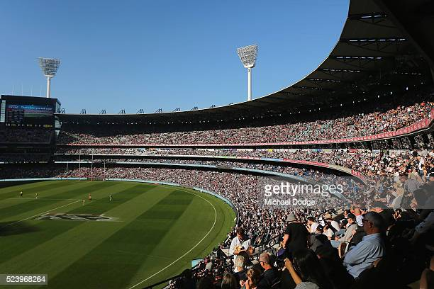 A general view is seen of the crowd during the round five AFL match between the Collingwood Magpies and the Essendon Bombers at Melbourne Cricket...