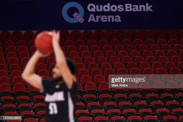 General view is seen of the empty seats in the arena during the warm-up before the round 20 NBL match between Melbourne United and Cairns Taipans at...