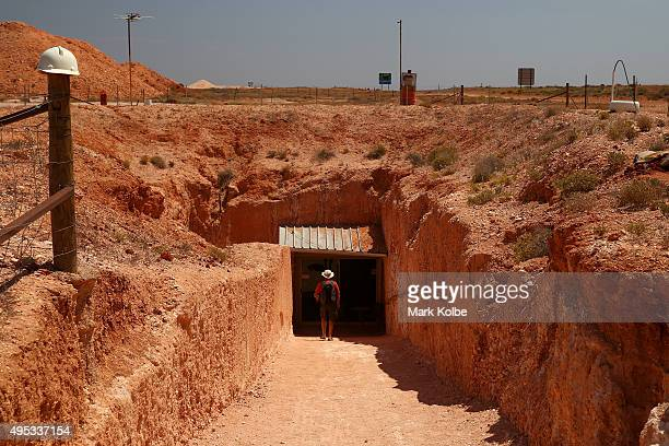 A general view is seen of the entry into Tom's Working Opal Mine on October 22 2015 in Coober Pedy Australia Tom's Working Opal Mine is an...