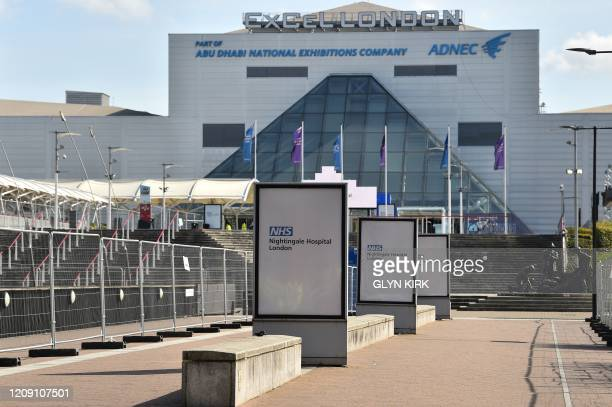 A general view is seen of the ExCeL London exhibition centre which has been transformed into the NHS Nightingale field hospital in London on April 4...