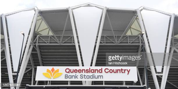 General view is seen of the exterior of the stadium during the open day for Queensland Country Bank Stadium on February 22, 2020 in Townsville,...