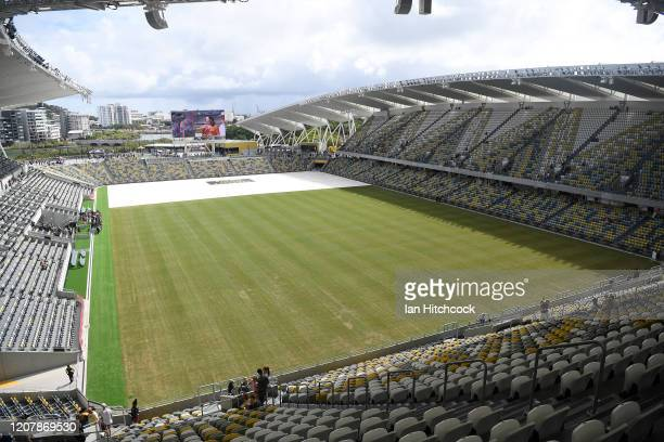 General view is seen of the field of play during the open day for Queensland Country Bank Stadium on February 22, 2020 in Townsville, Australia.