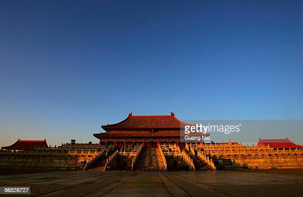 A general view is seen of the Hall of Supreme Harmony in Beijing's Forbidden City on January 5 2006 in Beijing China The hall is the most important...