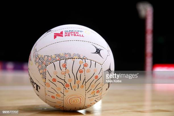 A general view is seen of the Indigenous round match ball before the round 10 Super Netball match between the Giants and the Swifts at the...