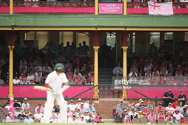 A general view is seen of the Ladies Stand with a Jane McGrath Stand sign as part of Jane McGrath Day during day three of the Third Test match...