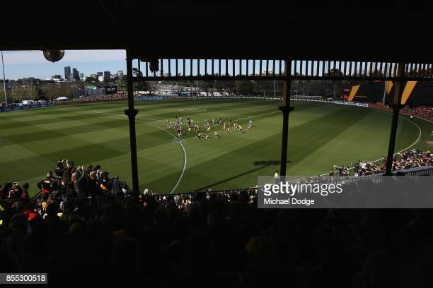 A general view is seen of the large crowd as players train during a Richmond Tigers AFL training session at Punt Road Oval on September 29 2017 in...
