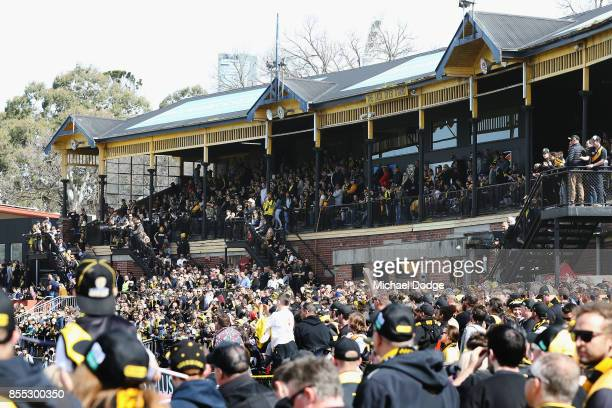 A general view is seen of the large crowd during a Richmond Tigers AFL training session at Punt Road Oval on September 29 2017 in Melbourne Australia