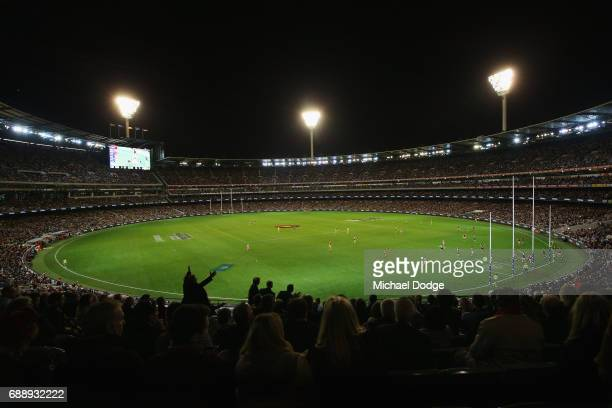 A general view is seen of the large crowd in attendance during the round 10 AFL match between the Richmond Tigers and the Essendon Bombers at...