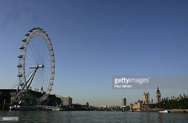 A general view is seen of the London Eye as Kevin Pietersen of England launches Englands' Big Summer of Cricket by hitting cricket balls into the...