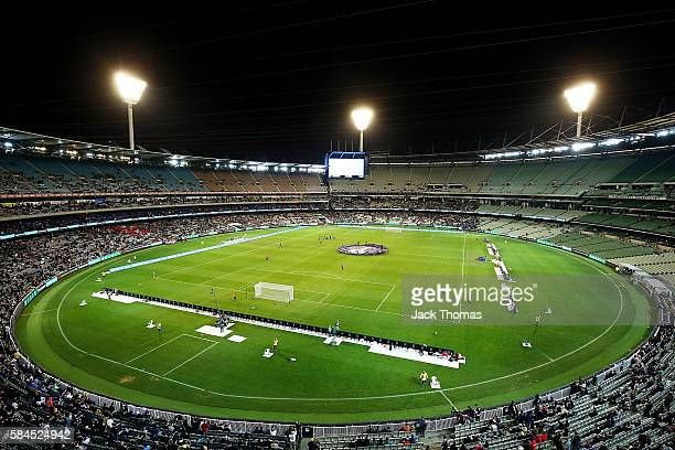 A general view is seen of the MCG during 2016 International Champions Cup Australia match between Tottenham Hotspur and Atletico de Madrid at...