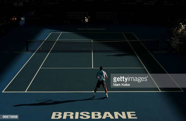 General view is seen of the men's final match between Radek Stepanek of the Czech Republic and Andy Roddick of the USA during day eight of the...
