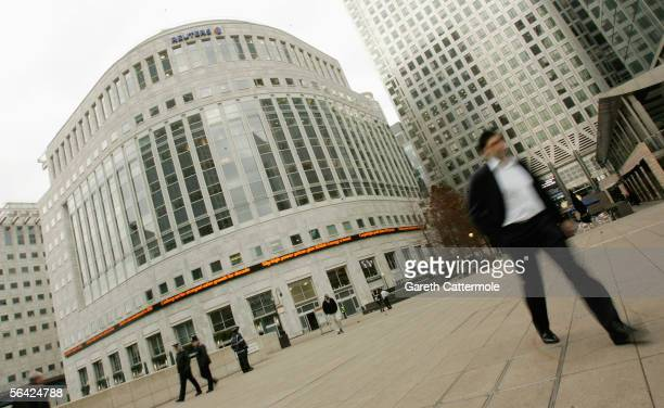 General view is seen of the new Global Headquarters of Reuters news agency at Canary Wharf on December 13, 2005 in London, England. HM Queen...