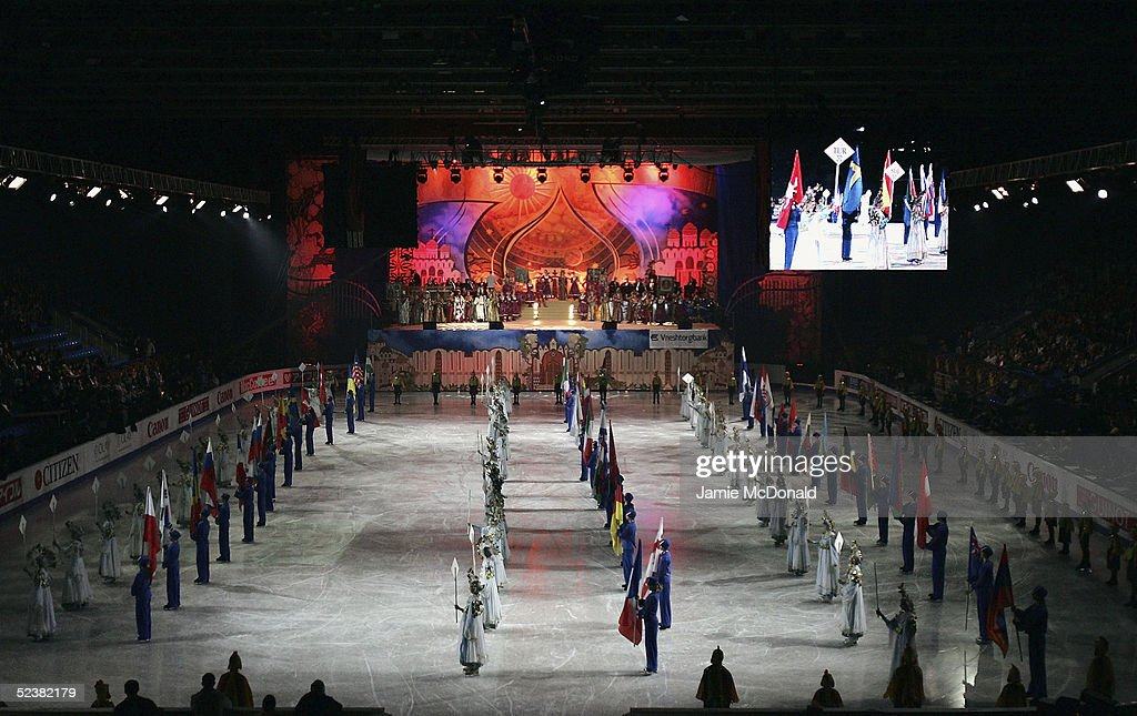 A general view is seen of the opening ceromony during the ISU World Figure Skating Championships at the Lunzhiki Sports Palace on March 13, 2005 in Moscow, Russia.