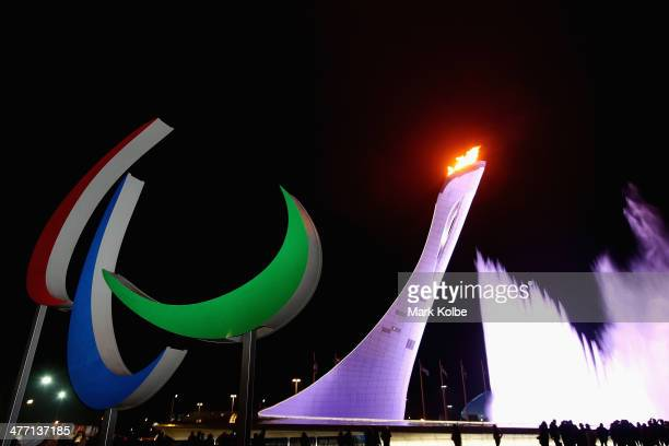 A general view is seen of the Paralympic agitos after the lighting of the flame at Fisht Olympic Stadium during the Opening Ceremony of the Sochi...