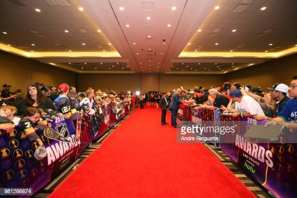 A general view is seen of the red carpet at the 2018 NHL Awards presented by Hulu at the Hard Rock Hotel Casino on June 20 2018 in Las Vegas Nevada