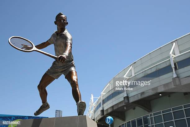 A general view is seen of the Rod Laver statue outside the Rod Laver Arena on day seven of the 2017 Australian Open at Melbourne Park on January 22...