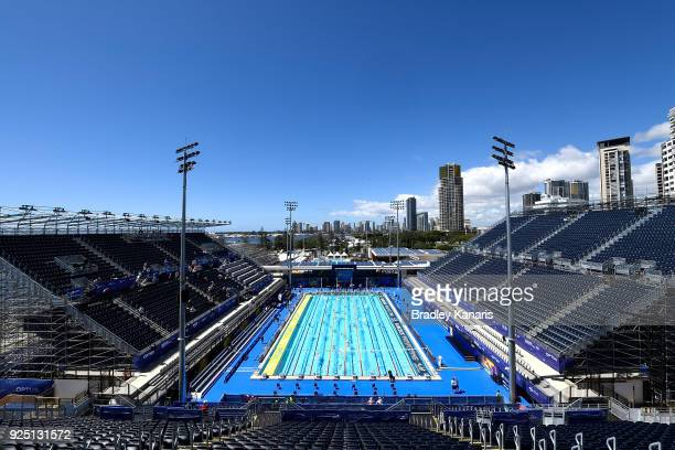 A general view is seen of the stadium as swimmers warmup before the start of the 2018 Australia Swimming National Trials at the Optus Aquatic Centre...