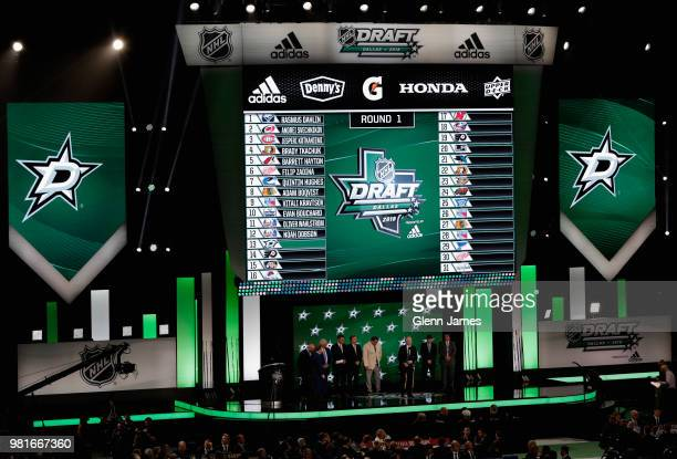 A general view is seen of the stage after the Dallas Stars selected Ty Dellandrea thirteenth overall during the first round of the 2018 NHL Draft at...
