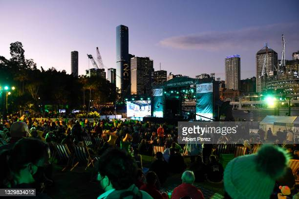 General view is seen of the stage area during the announcement of the host city for the 2032 Olympic Games, watched via live feed in Tokyo, at the...