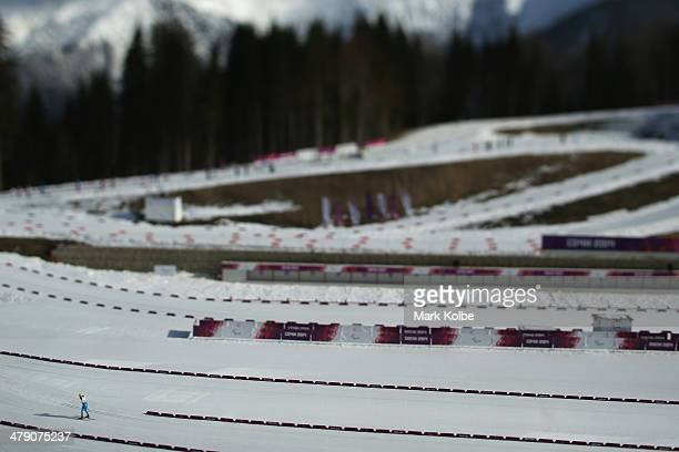 General view is seen of the start of the men's 10km - standing cross-country skiing on day nine of the Sochi 2014 Paralympic Winter Games at Laura...