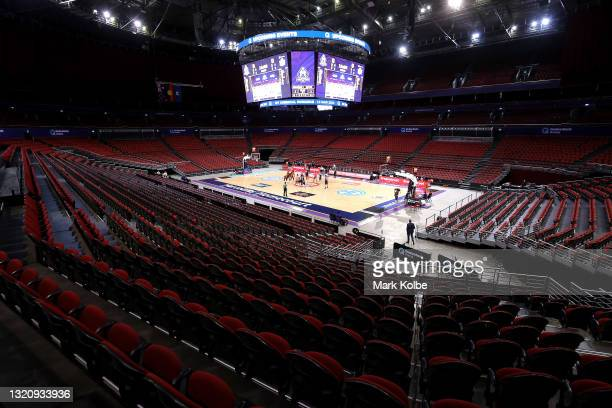 General view is seen of the tip off during the round 20 NBL match between Melbourne United and Cairns Taipans at Qudos Bank Arena, on May 31 in...