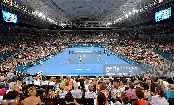 A general view is seen of the Women's Final between Karolina Pliskova of the Czech Republic and Alize Cornet of France on day seven of the 2017...