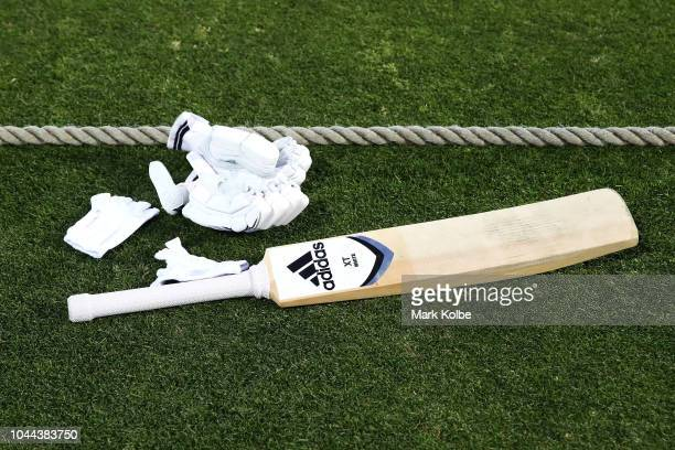A general view is seen os a bat and gloves during game one of the International Twenty20 series between Australia and New Zealand at North Sydney...