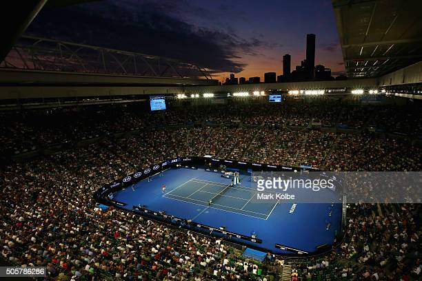 A general view is seen over Rod Laver Arena as Novak Djokovic of Serbia serves in his second round match against Quentin Halys of France during day...