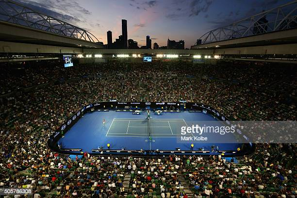 A general view is seen over Rod Laver Arena as Novak Djokovic of Serbia and Quentin Halys of France hit up ahead of their second round match during...