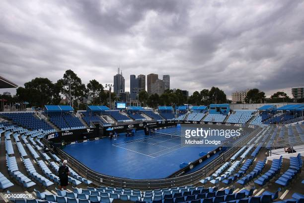 A general view is seen over show court three during a practice session ahead of the 2018 Australian Open at Melbourne Park on January 12 2018 in...
