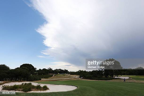 General view is seen over the 12th hole after play is postponed due to storm activity close by during day four of the LPGA Australian Open at Royal...