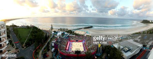 A general view is seen over the stadium during the men's Beach Volleyball preliminary pool B match between Samuel Pedlow and Sam Schachter of Canada...