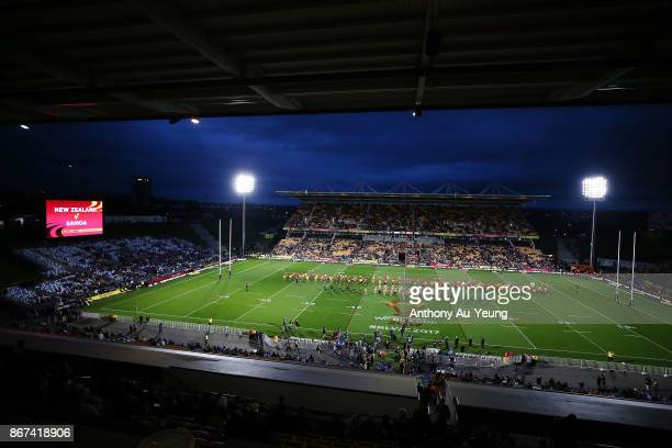 General view is seen prior to the 2017 Rugby League World Cup match between the New Zealand Kiwis and Samoa at Mt Smart Stadium on October 28, 2017...