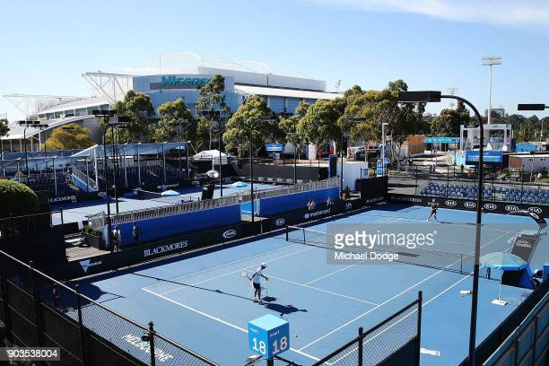 A general view is seen with Hisense Arena in the background during a practice session ahead of the 2018 Australian Open at Melbourne Park on January...
